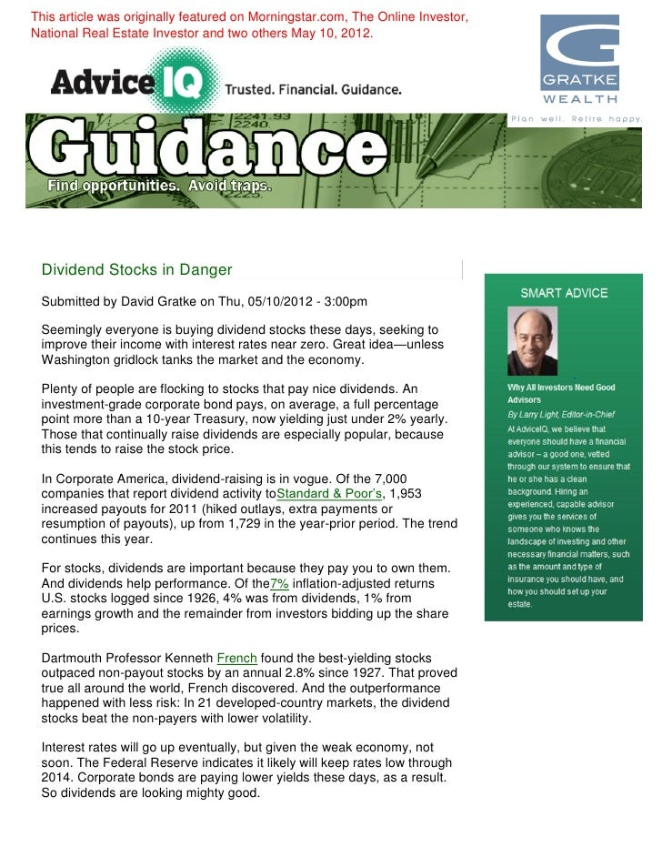 David gratke dividend stocks in danger