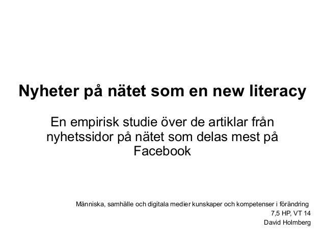 Nyheter På Nätet Som En New Literacy