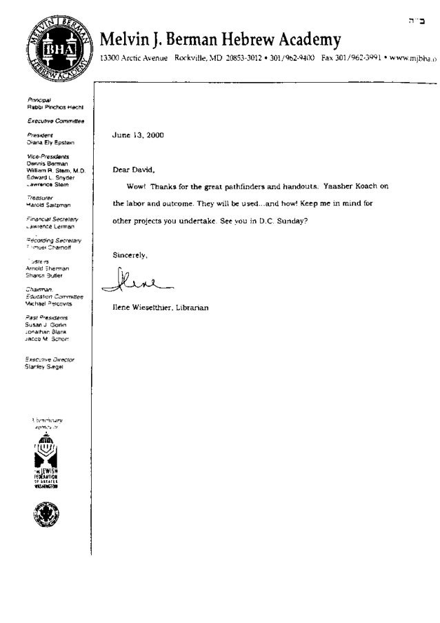 David B Levy Recommendations, thank you letters, and letters of acknowledgement