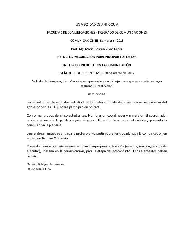 UNIVERSIDAD DE ANTIOQUIA FACULTAD DE COMUNICACIONES - PREGRADO DE COMUNICACIONES COMUNICACIÓN III- Semestre I-2015 Prof. M...