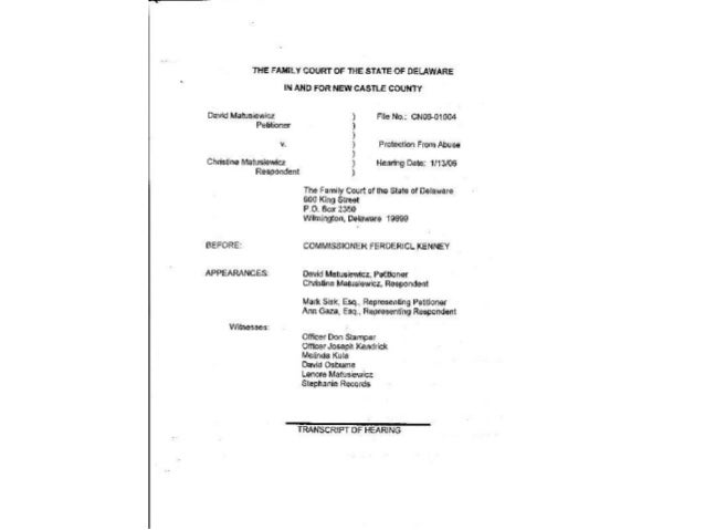 IN THE COMMON LAW COURT OF PUBLIC OPINION - Delaware Case CN06-01004