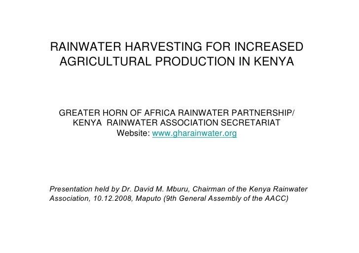 RAINWATER HARVESTING FOR INCREASED AGRICULTURAL PRODUCTION IN KENYA  GREATER HORN OF AFRICA RAINWATER PARTNERSHIP/    KENY...