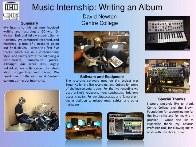 Music Internship: Writing an Album Summary My internship this summer involved writing and recording a CD with Dr Nathan Li...