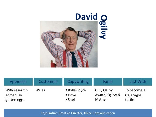 David Approach With research, admen lay golden eggs Customers Wives Copywriting  Rolls-Royce  Dove  Shell Fame CBE, Ogi...
