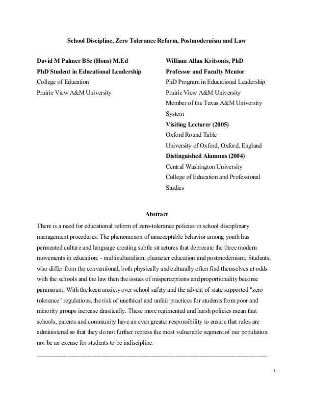 School Discipline, Zero Tolerance Reform, Postmodernism and Law David M Palmer BSc (Hons) M.Ed PhD Student in Educational ...