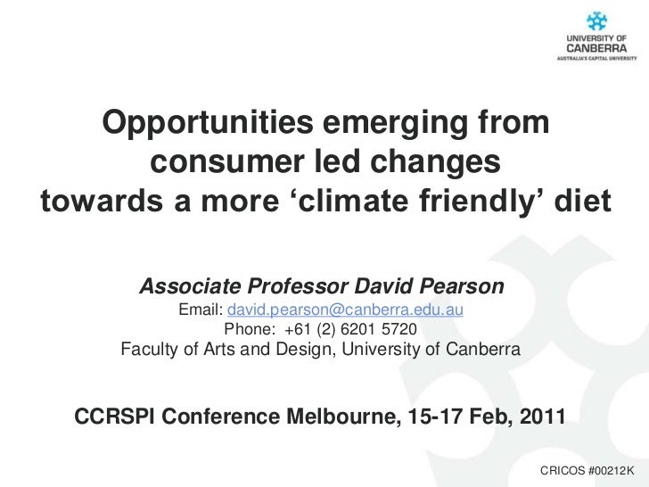 Opportunities emerging from      consumer led changestowards a more 'climate friendly' diet        Associate Professor Dav...