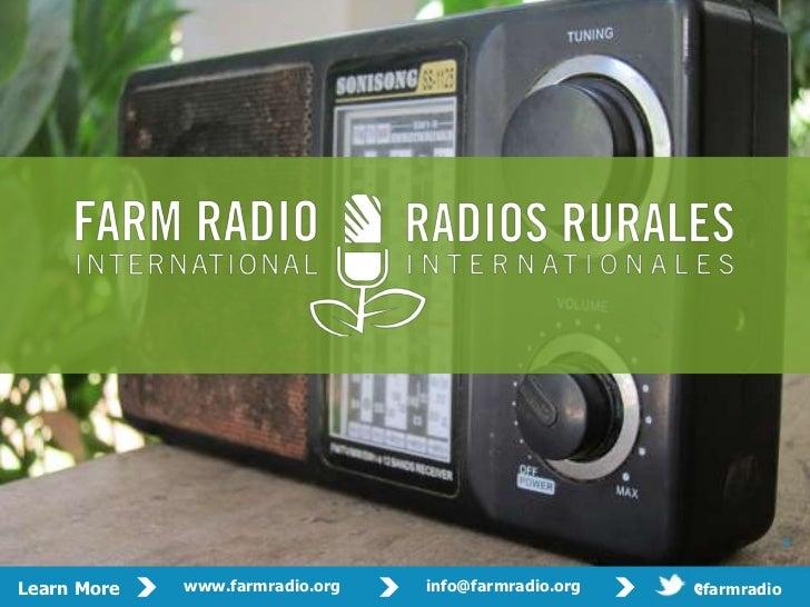 Prese   David Mowbray             Contact:   dmowbray@farmradio.org                         nter:                         ...