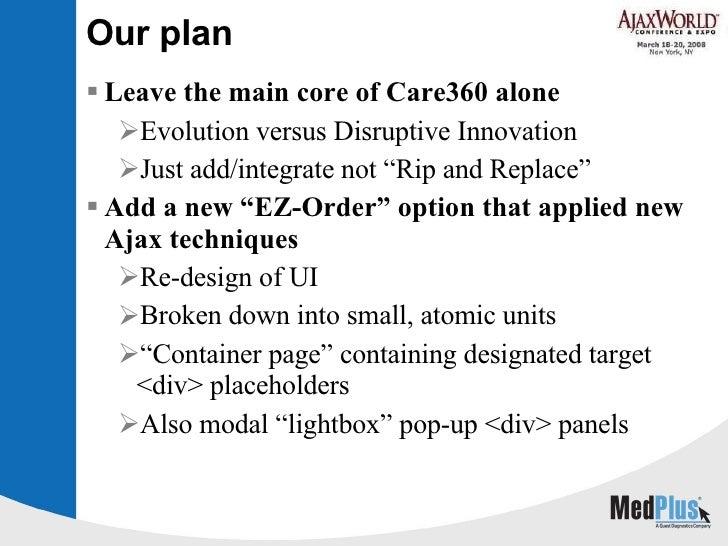 Our plan <ul><li>Leave the main core of Care360 alone </li></ul><ul><ul><li>Evolution versus Disruptive Innovation </li></...