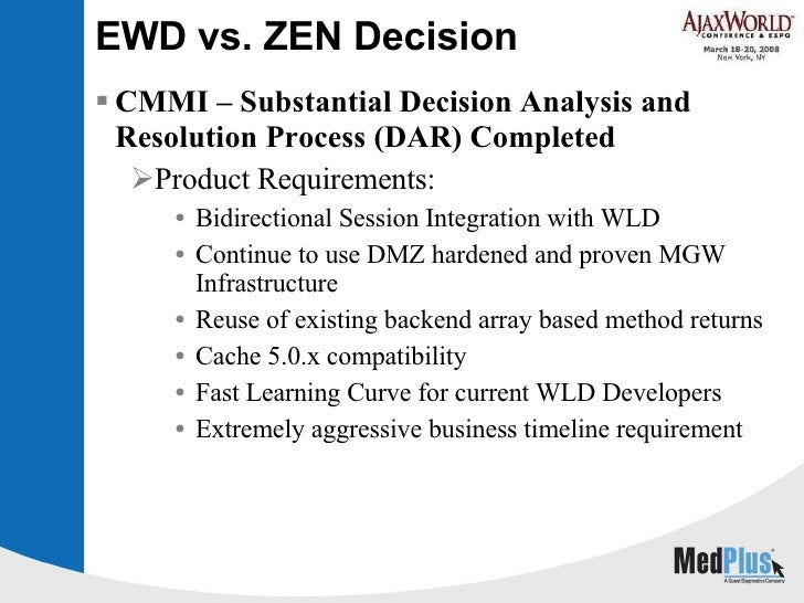 EWD vs. ZEN Decision <ul><li>CMMI – Substantial Decision Analysis and Resolution Process (DAR) Completed </li></ul><ul><ul...