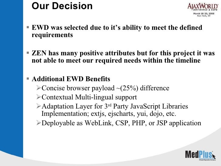 Our Decision  <ul><li>EWD was selected due to it's ability to meet the defined requirements </li></ul><ul><li>ZEN has many...