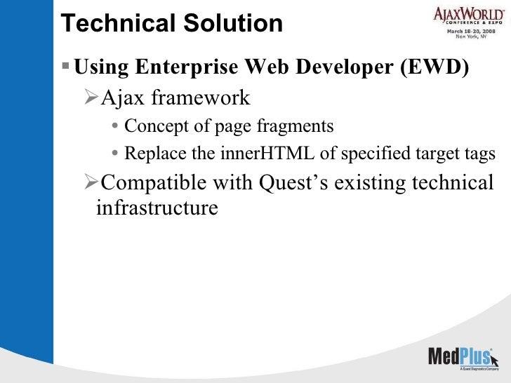 Technical Solution <ul><li>Using Enterprise Web Developer (EWD) </li></ul><ul><ul><li>Ajax framework </li></ul></ul><ul><u...