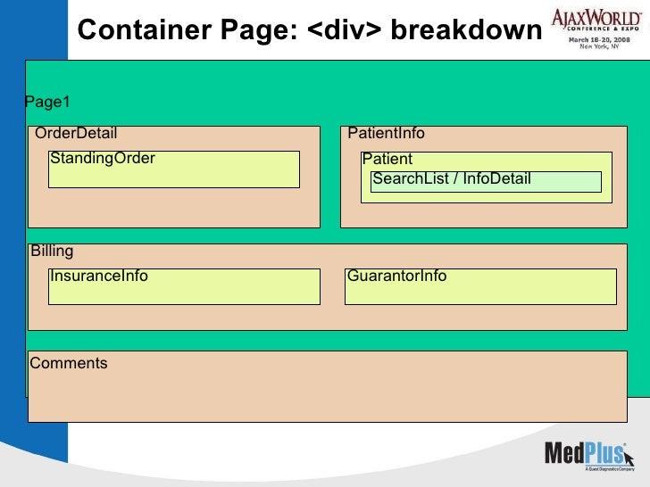 Container Page: <div> breakdown Page1 OrderDetail PatientInfo StandingOrder Patient SearchList / InfoDetail Billing Insura...