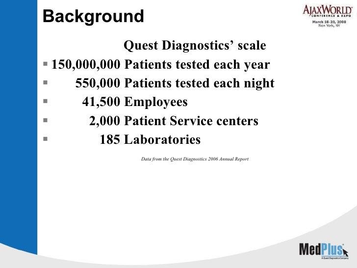 Background <ul><li>Quest Diagnostics' scale </li></ul><ul><li>150,000,000 Patients tested each year </li></ul><ul><li>550,...