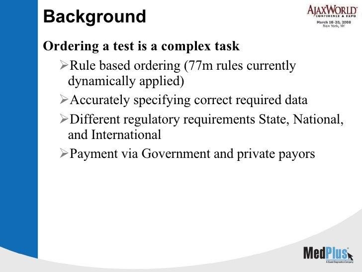 Background <ul><li>Ordering a test is a complex task </li></ul><ul><ul><li>Rule based ordering (77m rules currently dynami...