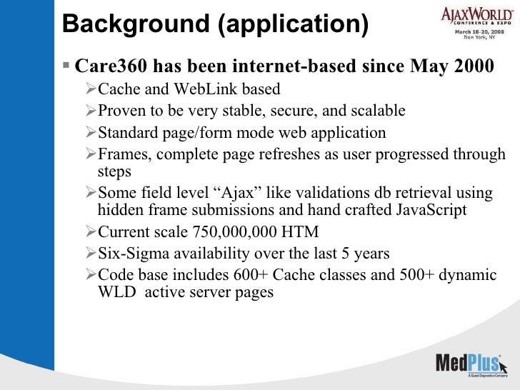 Background (application) <ul><li>Care360 has been internet-based since May 2000  </li></ul><ul><ul><li>Cache and WebLink b...