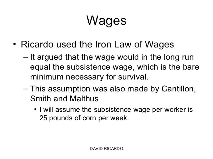 david ricardo law diminishing returns Ideas associated with smith, malthus, and ricardo, they had far more in  and  that agriculture will be subject to diminishing returns, is the law of rent -- a law.