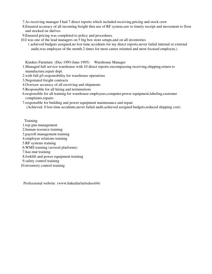 credit coordinator 2 - Warehouse Distribution Resume