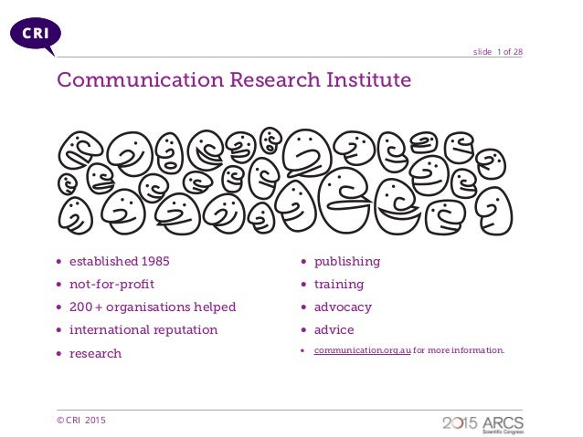 slide of 28 © CRI 2015 CRI 1 • established 1985 • not-for-profit • 200 + organisations helped • international reputation • ...