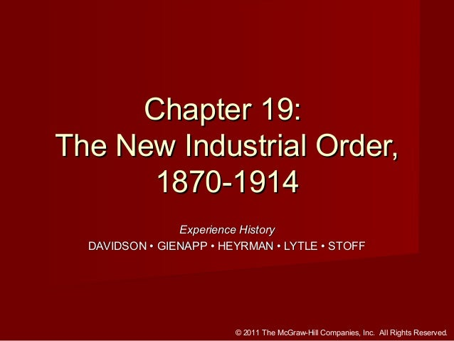 Chapter 19: The New Industrial Order, 1870-1914 Experience History DAVIDSON • GIENAPP • HEYRMAN • LYTLE • STOFF  © 2011 Th...