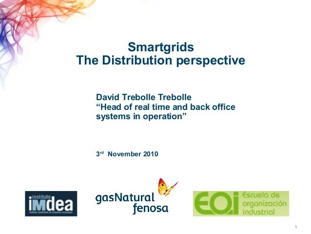 "Smartgrids The Distribution perspective 1 3rd November 2010 David Trebolle Trebolle ""Head of real time and back office sys..."