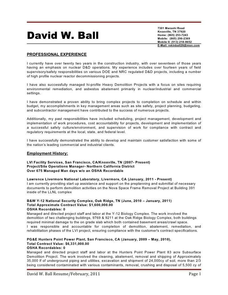 David W Ball Resume 2 12 2011