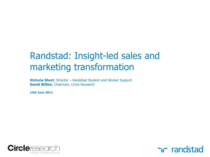 Randstad: Insight-led sales andmarketing transformationVictoria Short, Director – Randstad Student and Worker SupportDavid...