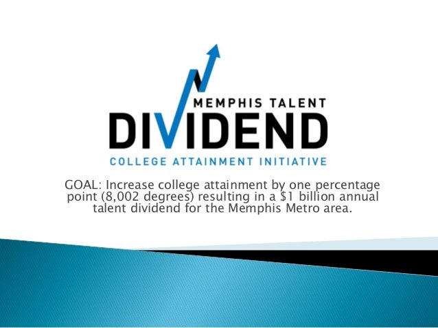GOAL: Increase college attainment by one percentage point (8,002 degrees) resulting in a $1 billion annual talent dividend...