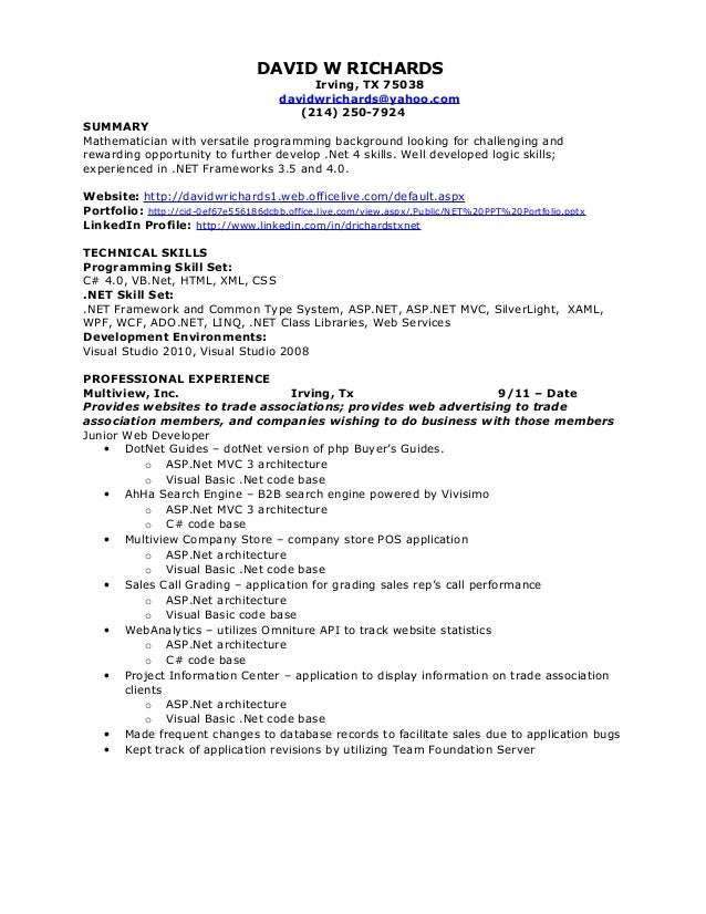asp net mvc resume resume ideas