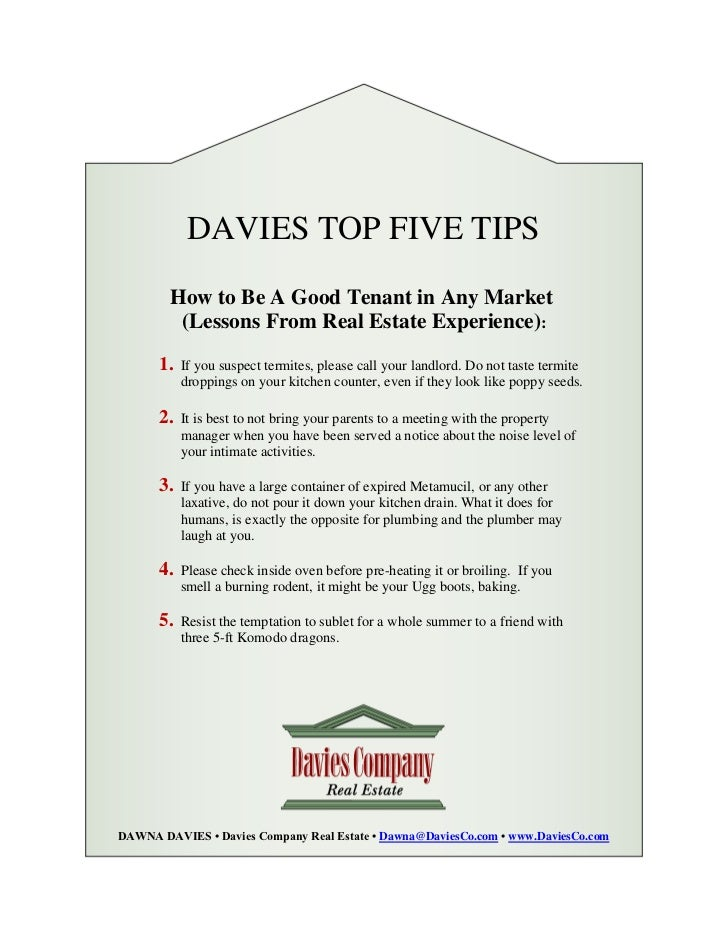 Davies top 5 tips how to be a good tenant in any market for Tips to make home theater ideas become true