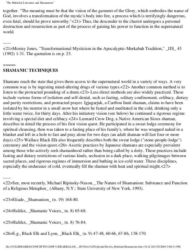 Davila hekhalot shamanism