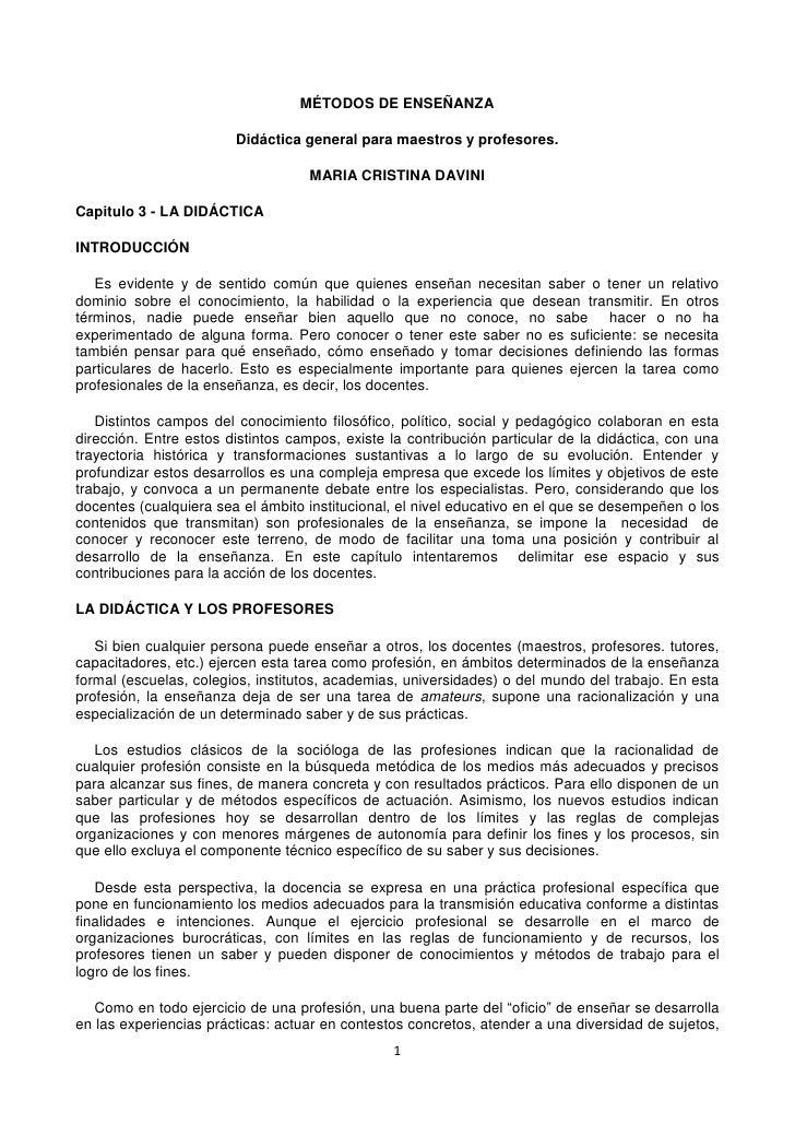 MÉTODOS DE ENSEÑANZA                        Didáctica general para maestros y profesores.                                 ...
