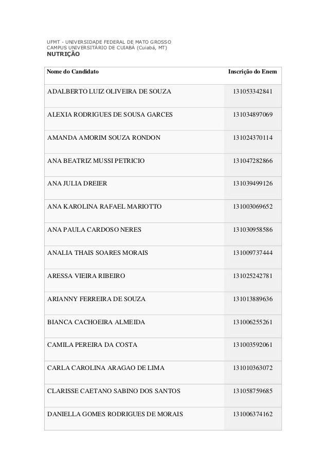 UFMT - UNIVERSIDADE FEDERAL DE MATO GROSSO CAMPUS UNIVERSITÁRIO DE CUIABÁ (Cuiabá, MT)  NUTRIÇÃO  Nome do Candidato  Inscr...