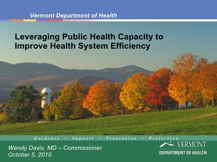 Leveraging Public Health Capacity to Improve Health System Efficiency Wendy Davis, MD – Commissioner October 5, 2010