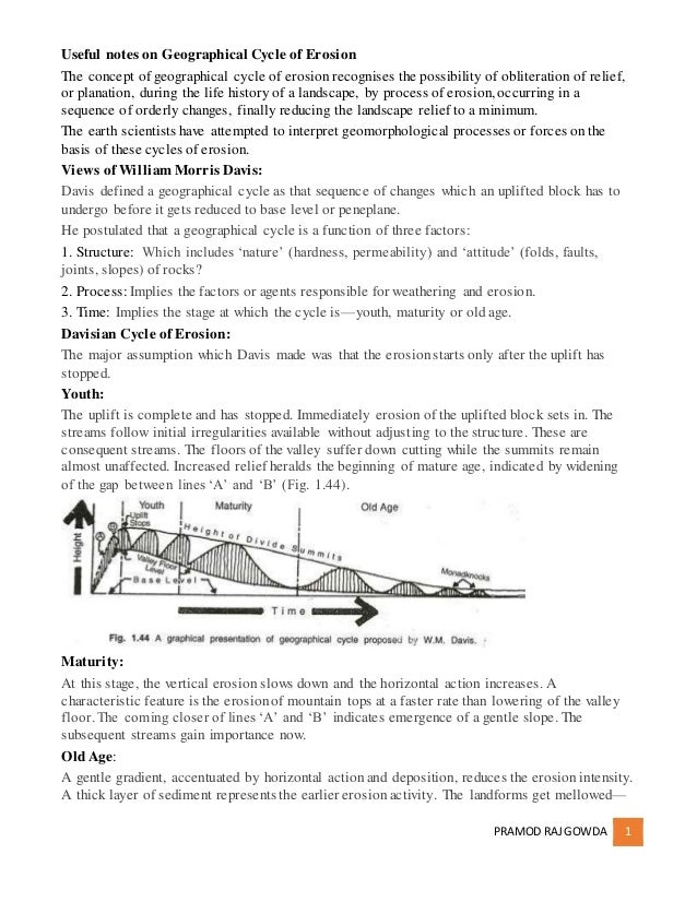 PRAMOD RAJGOWDA 1 Useful notes on Geographical Cycle of Erosion The concept of geographical cycle of erosionrecognises the...