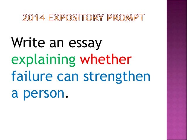 write an essay explaining whether failure can strengthen a person