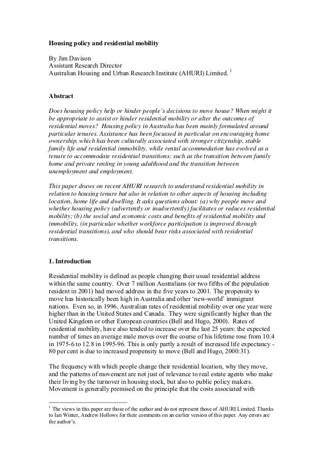 Housing policy and residential mobility By Jim Davison Assistant Research Director Australian Housing and Urban Research I...