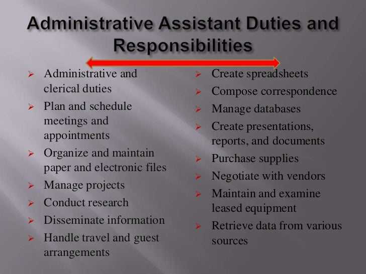 Administrative Assistant Duties ...  Duties Of Administrative Assistant