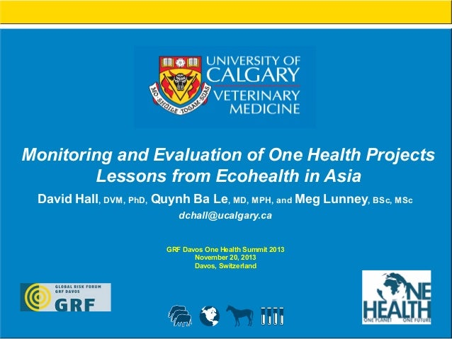 Monitoring and Evaluation of One Health Projects Lessons from Ecohealth in Asia David Hall, DVM, PhD, Quynh Ba Le, MD, MPH...