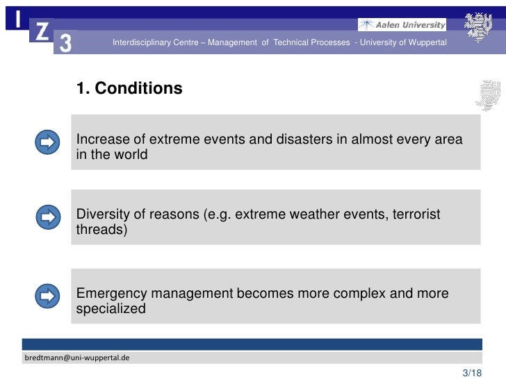 Challenges for the Disaster and Crisis Management – Identification of…