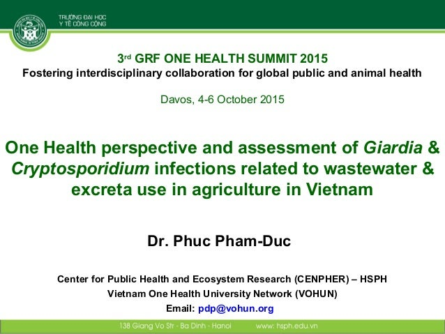 One Health perspective and assessment of Giardia & Cryptosporidium infections related to wastewater & excreta use in agric...