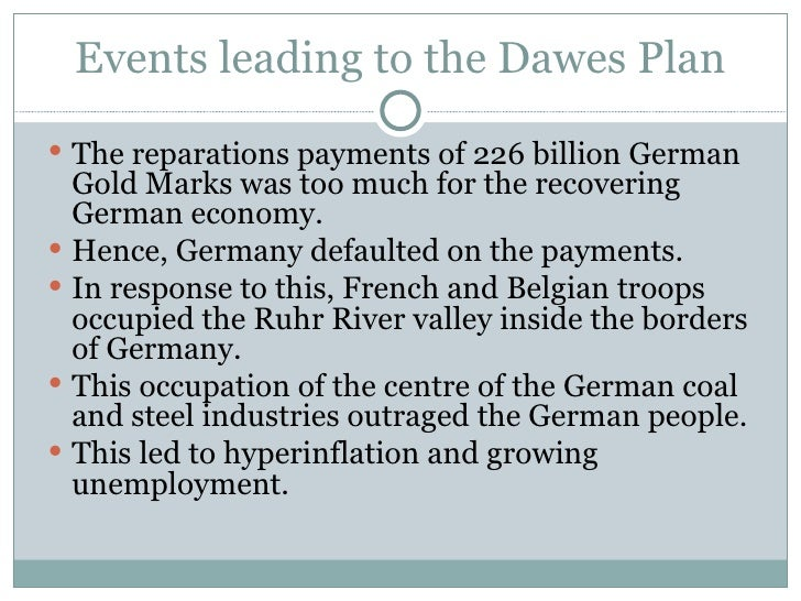 the dawes plan For more see : isolationism/the washington naval conference, 1921/the dawes plan, 1924 the young plan, 1929 under usa 1920's and 1930's (or press the link.