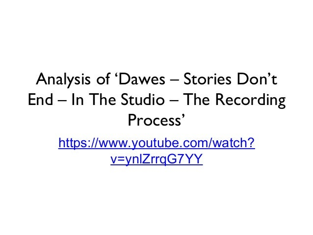 Analysis of 'Dawes – Stories Don't End – In The Studio – The Recording Process' https://www.youtube.com/watch? v=ynlZrrqG7...