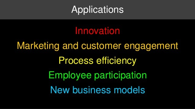 Applications  Innovation  Marketing and customer engagement  Process efficiency  Employee participation  New business mode...