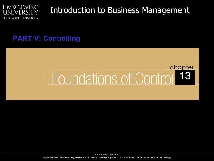 PART V: Controlling 13