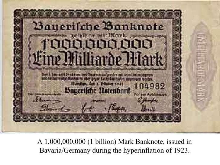 A 1,000,000,000 (1 billion) Mark Banknote, issued in Bavaria/Germany during the hyperinflation of 1923.