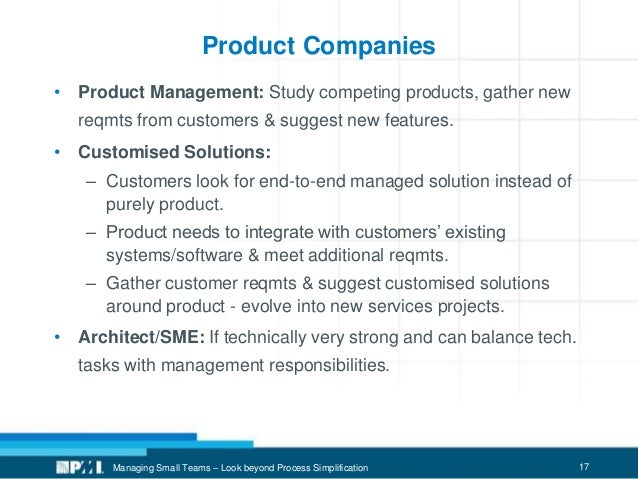 17 Product Companies • Product Management: Study competing products, gather new reqmts from customers & suggest new featur...