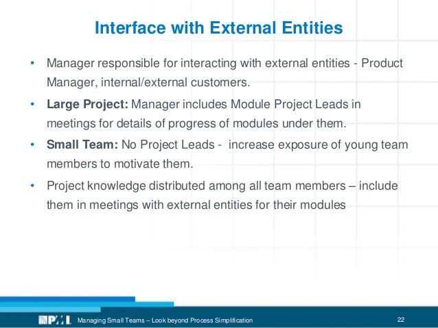 22 Interface with External Entities • Manager responsible for interacting with external entities - Product Manager, intern...