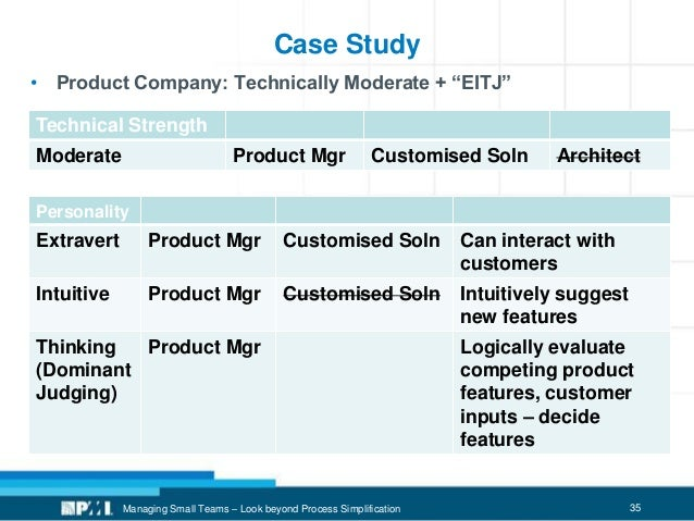 """35 Case Study • Product Company: Technically Moderate + """"EITJ"""" Managing Small Teams – Look beyond Process Simplification T..."""