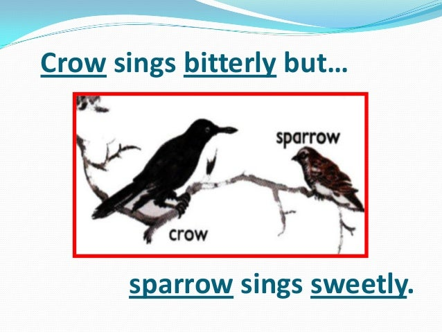Crow sings bitterly but… sparrow sings sweetly.