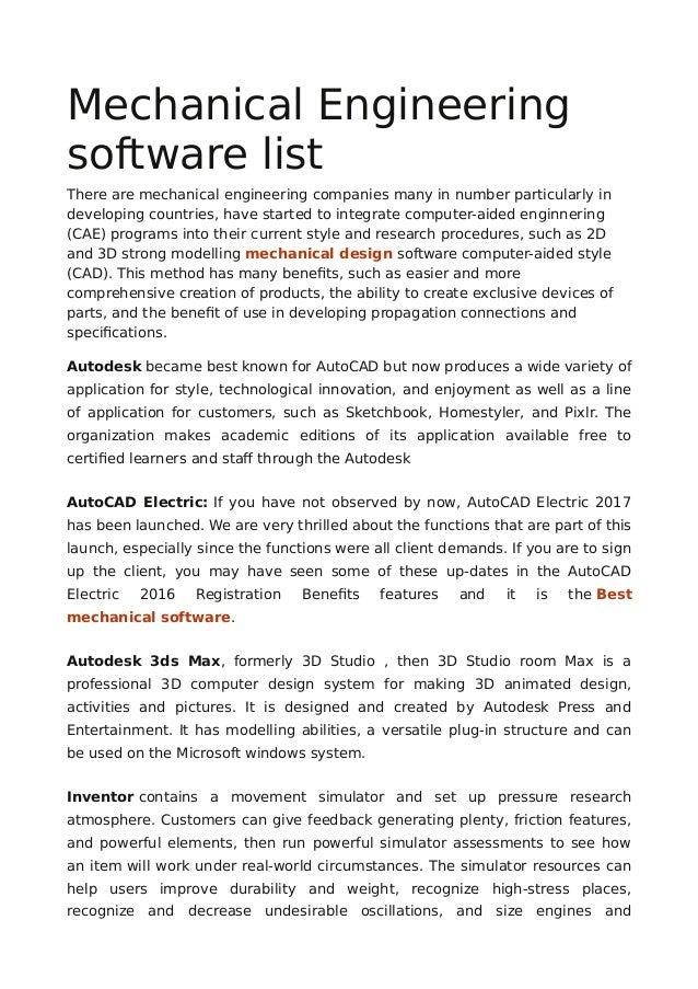 Mechanical Engineering software list